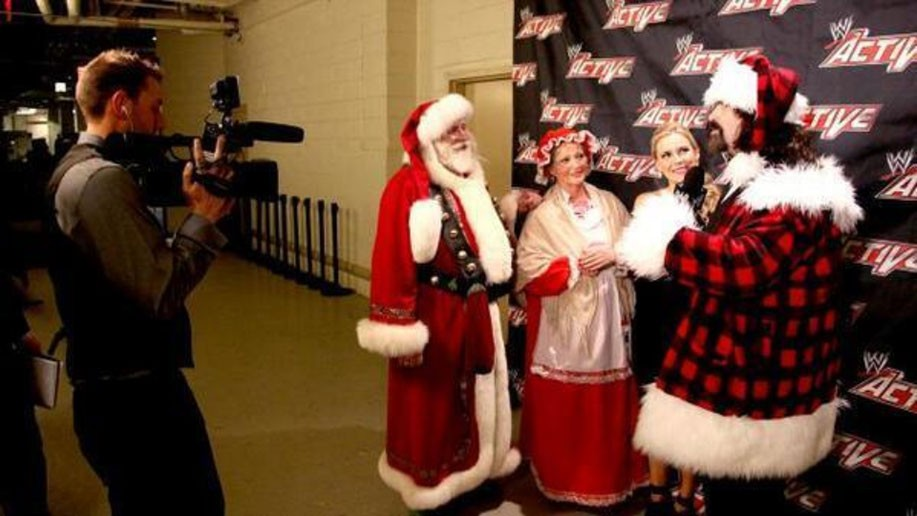 Mick Foley wearing custom made santa suit costume