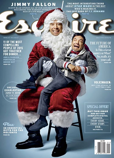 Jimmy Fallon wearing Santa suit