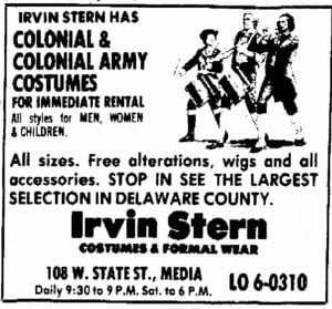 Irvin sterns costumes advertisement